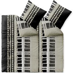 CelinaTex Bettwäsche Mikrofaser Fleece Winter 4-teilig 155x220 Style Daniela grau schwarz