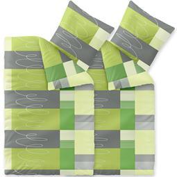 CelinaTex Bettwäsche Mikrofaser Fleece Winter 4-teilig 135x200 Style Ellen grün grau