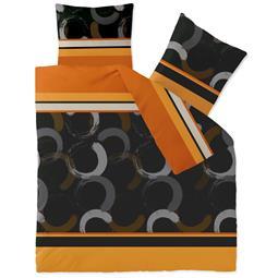 CelinaTex Bettwäsche Mikrofaser Fleece Winter 200x200 Style Evita orange schwarz braun