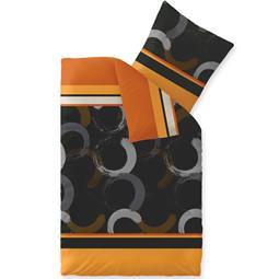 CelinaTex Bettwäsche Mikrofaser Fleece Winter 155x220 Style Evita orange schwarz braun
