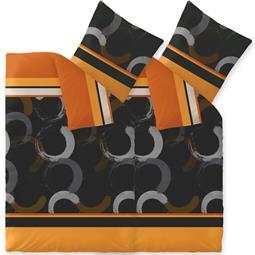 CelinaTex Bettwäsche Mikrofaser Fleece Winter 4-teilig 155x220 Style Evita orange schwarz braun