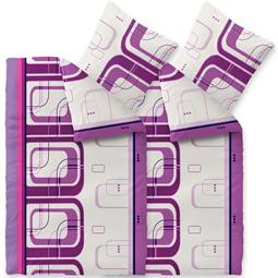 CelinaTex Bettwäsche Mikrofaser Fleece Winter 4-teilig 155x220 Style Pepper lila weiß