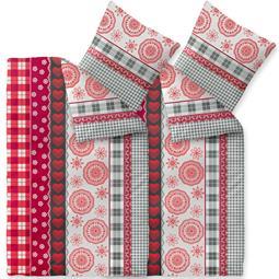 CelinaTex Bettwäsche Mikrofaser Fleece Winter 4-teilig 155x220 Style Sweet weiss grau rot