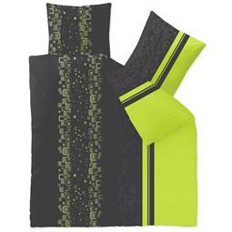 Bettwäsche Microfaser Fleece200x200 Style Cosima grün grau schwarz