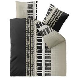Bettwäsche Microfaser Fleece 200x200 Style Daniela grau schwarz