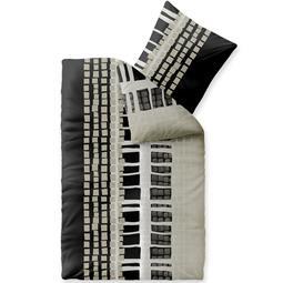 Bettwäsche Microfaser Fleece 155x220 Style Daniela grau schwarz