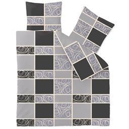Bettwäsche Microfaser Fleece 200x200 Style Denise grau schwarz