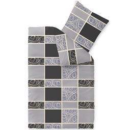 Bettwäsche Microfaser Fleece 155x220 Style Denise grau schwarz