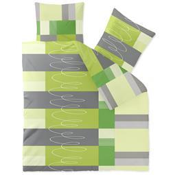 Bettwäsche Microfaser Fleece 200x200 Style Ellen grün grau