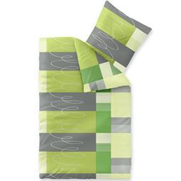 Bettwäsche Microfaser Fleece 135x200 Style Ellen grün grau