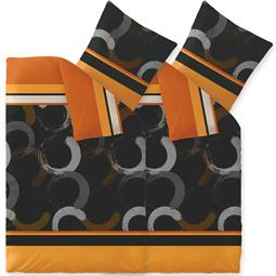 Bettwäsche Microfaser Fleece 4-teilig 155x220 Style Evita orange schwarz braun