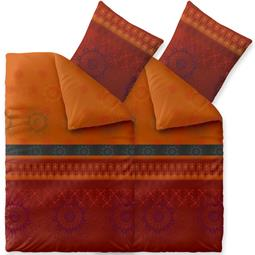 Bettwäsche Microfaser Fleece 4-teilig 135x200 Style Legra bordeaux orange schwarz
