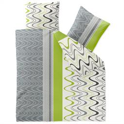 Bettwäsche Microfaser Fleece 200x220 Style Louisa grün weiss grau