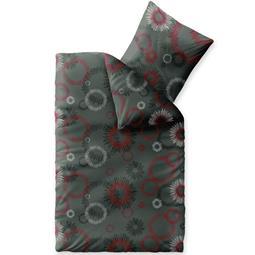 Bettwäsche Winter 155x220 Baumwolle Biber Touchme Mira grau rot schwarz