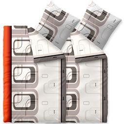 Bettwäsche Winter 155x220 4 teilig Baumwolle Biber Touchme Pina grau weiß orange