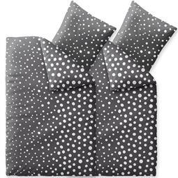 Bettwäsche Winter 155x220 4 teilig Baumwolle Biber Touchme Tessa schwarz weiß