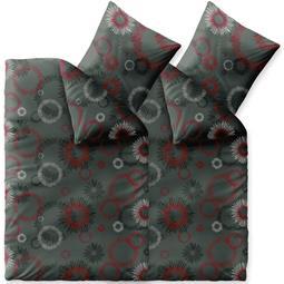 Bettwäsche Winter 155x220 4 teilig Baumwolle Biber Touchme Mira grau rot schwarz