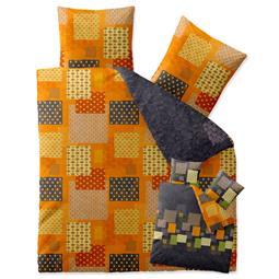 Bettwäsche Garnitur Baumwolle Trend 200x200 Adia grau orange grün