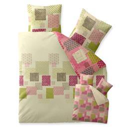 Bettwäsche Garnitur Baumwolle Trend 200x220 Amera grün natur rosa