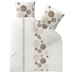 Bettwäsche Garnitur Baumwolle Trend 200x220 Cleo weiß sandbeige dunkelbraun