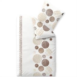 Bettwäsche Garnitur Baumwolle Trend 135x200 Cleo weiß sandbeige dunkelbraun