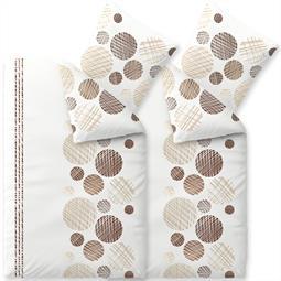 Bettwäsche Garnitur Baumwolle Trend 4 teilig 135x200 Cleo weiß sandbeige dunkelbraun