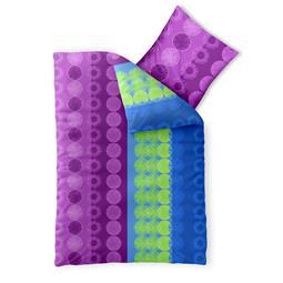 aqua-textil Bettwäsche Garnitur Baumwolle Trend 135x200 Dina blau flieder