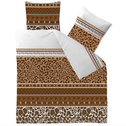 aqua-textil Bettwäsche Garnitur Baumwolle Trend 200x200  Ebony weiß braun