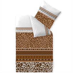 Bettwäsche Garnitur Baumwolle Trend 135x200 Ebony weiß braun