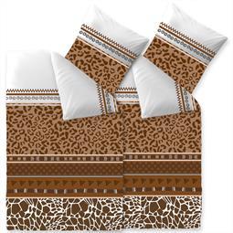 Bettwäsche Garnitur Baumwolle Trend 4 teilig 135x200 Ebony weiss braun