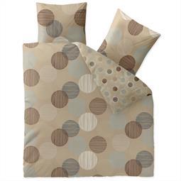 aqua-textil Bettwäsche Garnitur Baumwolle Trend 200x200 Fara natur beige blau braun