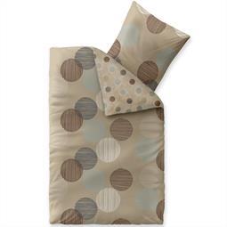 Bettwäsche Garnitur Baumwolle Trend 135x200 Fara natur beige blau braun