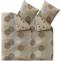 Bettwäsche Garnitur Baumwolle Trend 4 teilig 135x200 Fara natur beige blau braun