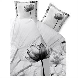 aqua-textil Bettwäsche Garnitur Baumwolle Trend 200x200  Flora weiss schwarz grau hellgrau