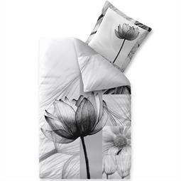 Bettwäsche Garnitur Baumwolle Trend 135x200 Flora weiss schwarz grau hellgrau