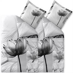 aqua-textil Bettwäsche Garnitur Baumwolle Trend 4 teilig 135x200 Flora weiss schwarz grau hellgrau