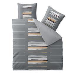 aqua-textil Bettwäsche Garnitur Baumwolle Trend 200x200  Hanaa grau beige