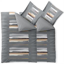 Bettwäsche Garnitur Baumwolle Trend 4 teilig 135x200 Hanaa grau beige