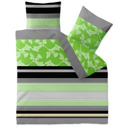 aqua-textil Bettwäsche Garnitur Baumwolle Trend 200x200  Imani grün grau
