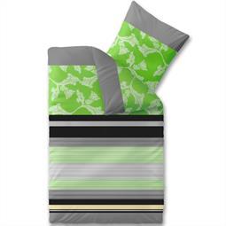 aqua-textil Bettwäsche Garnitur Baumwolle Trend 135x200 Imani grün grau