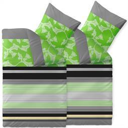 Bettwäsche Garnitur Baumwolle Trend 4 teilig 135x200 Imani grün grau