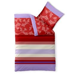 aqua-textil Bettwäsche Garnitur Baumwolle Trend 135x200 Imara rot lavendel