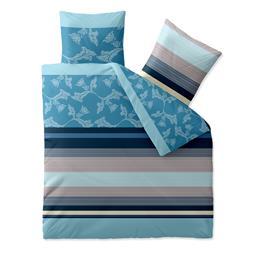 aqua-textil Bettwäsche Garnitur Baumwolle Trend 200x200  Isabis blau beige