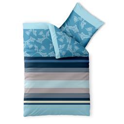 Bettwäsche Garnitur Baumwolle Trend 135x200 Isabis blau beige