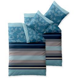 Bettwäsche Garnitur Baumwolle Trend 4 teilig 155x220 Isabis blau beige