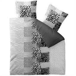 aqua-textil Bettwäsche Garnitur Baumwolle Trend 200x200 Leotine schwarz grau