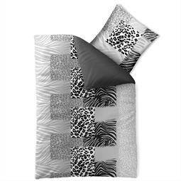 Bettwäsche Garnitur Baumwolle Trend 135x200 Leotine schwarz grau
