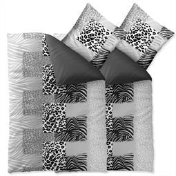 Bettwäsche Garnitur Baumwolle Trend 4 teilig 135x200 Leotine schwarz grau