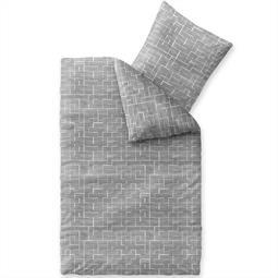 Bettwäsche Garnitur Baumwolle Trend 135x200 Malou grau weiß dunkelgrau