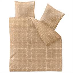 aqua-textil Bettwäsche Garnitur Baumwolle Trend 200x200  Marit sandbeige weiß